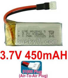 3.7V Battery 11-01 3.7V 450mah Battery with 51005 Air-to-air Plug-802042