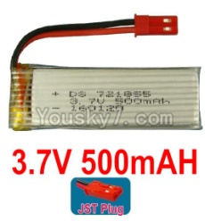 3.7V Battery 12-04 3.7v 500mah 15C Battery with Red JST Plug-721855-Version 2 without cover