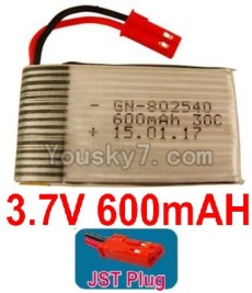 3.7V Battery 15-02 3.7V 600mah Battery with Red JST Plug-802540