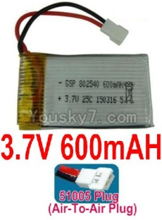 3.7V Battery 15-03 3.7V 600mah Battery with 51005 Air-to-air Plug-802540
