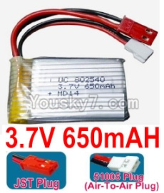 3.7V Battery 16-01 3.7v 650mah 15C Battery with Both JST and 51005 Air-To-Air Plug Plug-802540