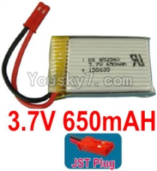 3.7V Battery 16-02 3.7v 650mah 15C Battery with Red Plug-852540