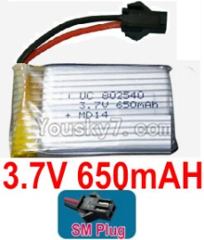3.7V Battery 16-03 3.7v 650mah 15C Battery with Red JST Plug-802540