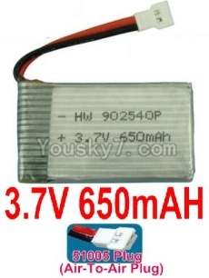 3.7V Battery 16-04 3.7v 650mah 15C Battery with White 51005 Air-To-Air Plug-902540