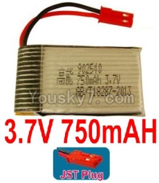 3.7V Battery 17-01 3.7V 750mah Battery with Red JST Plug-902540