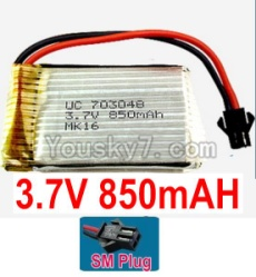 3.7V Battery 19-02 3.7v 850mah 15C Battery with Black SM Plug-703048