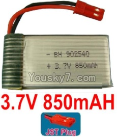 3.7V Battery 19-03 3.7v 850mah 15C Battery with Red JST Plug-902540
