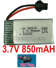 3.7V Battery 19-04 3.7v 850mah 15C Battery with Black SM Plug-902540