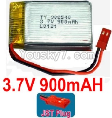 3.7V Battery 20-01 3.7v 900mah 15C Battery with Red JST Plug-982540