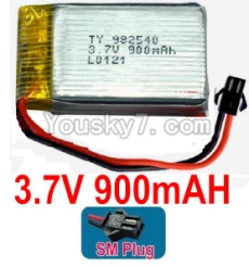3.7V Battery 20-02 3.7v 900mah 15C Battery with Black SM Plug-982540