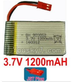 3.7V Battery 23-02 3.7v 1200mah 15C Battery with Red JST Plug-903052