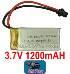 3.7V Battery 23-03 3.7v 1200mah 15C Battery with Black SM Plug-993052