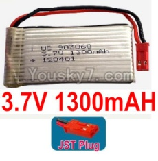 3.7V Battery 24-01 3.7v 1300mah 15C Battery with Red JST Plug-903060