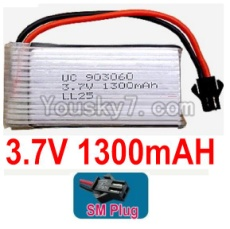3.7V Battery 24-02 3.7v 1300mah 15C Battery with Black SM Plug-903060