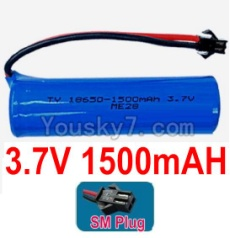 3.7V Battery 26-02 3.7v 1500mah 15C Battery with Black SM Plug-18650