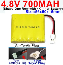 4.8V 700MAH NI-MH Battery-With Air-To-Air Plug(Shape-One Row with 4X Inner battery)-Size-56x50x15mm