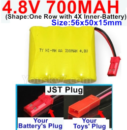 4.8V 700MAH NI-MH Battery-With JST Plug-(Shape-One Row with 4X Inner battery)-Size-56x50x15mm