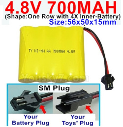 4.8V 700MAH NI-MH Battery-With SM Plug-(Shape-One Row with 4X Inner battery)-Size-56x50x15mm