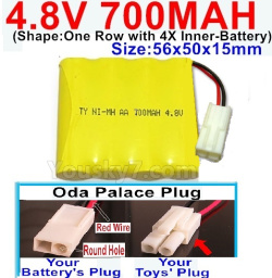 4.8V 700MAH NI-MH Battery-With Oda Palace Plug(Round hole-Red Wire)-(Shape-One Row with 4X Inner battery)-Size-56x50x15mm