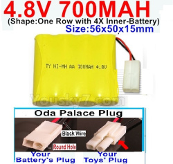 4.8V 700MAH NI-MH Battery-With Oda Palace Plug(Round hole-Black Wire)-(Shape-One Row with 4X Inner battery)-Size-56x50x15mm