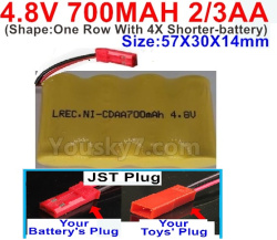 4.8V 700MAH NI-CD Battery(2/3AA-Shorter)-With JST Plug-(Shape-One Row With 4X Shorter-battery)-Size-50X29X29mm
