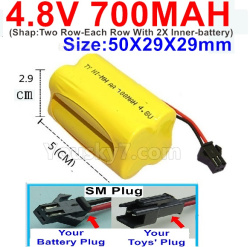 4.8V 700MAH NI-MH Battery-With SM Plug-(Shap-Two Row-Each Row With 2X Inner-battery)-Size-50X29X29mm