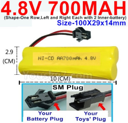 4.8V 700MAH NI-CD Battery-With SM Plug-(Shape-One Row,Left and Right Each with 2 Inner-battery)-Size-100X29x14mm.The D-Shape Hole is Red Wire)-(Shape-One Row,Left and Right Each with 2 Inner-battery)-Size-100X29x14mm