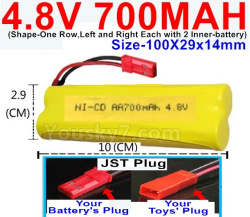 06-04 4.8V 700MAH NI-CD Battery-With JST Plug-(Shape-One Row,Left and Right Each with 2 Inner-battery)-Size-100X29x14mm