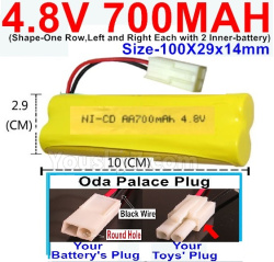 4.8V 700MAH NI-CD Battery-With Oda Palace Plug(Round hole-Black Wire)-(Shape-One Row,Left and Right Each with 2 Inner-battery)-Size-100X29x14mm