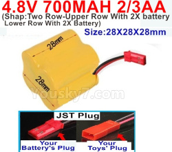 4.8V 700MAH NI-CD Battery(2/3AA-Shorter)-With JST Plug(Shape-Two Row-Upper Row With 2X battery,Lower Row With 2X Battery)-Size-28X28X28mm