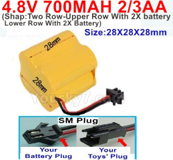 4.8V 700MAH NI-CD Battery(2/3AA-Shorter)-With SM Plug(Shape-Two Row-Upper Row With 2X battery,Lower Row With 2X Battery)-Size-28X28X28mm