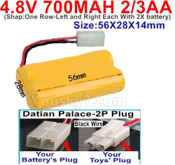 4.8V 700MAH NI-CD Battery(2/3AA-Shorter)-With Datian Palace-2P Plug(The D-Shape hole is Black wire)-(ShapOne Row-Left and Right Each With 2X battery)-Size-56X28X14mm