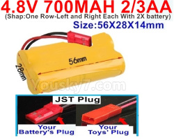 4.8V 700MAH NI-CD Battery(2/3AA-Shorter)-With JST Plug-Shape-One Row-Left and Right Each With 2X battery)-Size-56X28X14mm