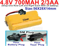 4.8V 700MAH NI-CD Battery(2/3AA-Shorter)-With SM Plug-Shape-One Row-Left and Right Each With 2X battery)-Size-56X28X14mm