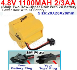 4.8V 1100MAH NI-CD Battery(2/3AA-Shorter)-With SM Plug(Shape-Two Row-Upper Row With 2X battery,Lower Row With 2X Battery)-Size-28X28X28mm