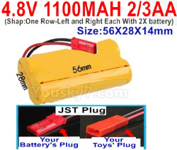 4.8V 1100MAH NI-CD Battery(2/3AA-Shorter)-With JST PlugShapOne Row-Left and Right Each With 2X battery)-Size-56X28X14mm