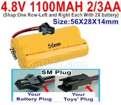 4.8V 1100MAH Battery(2/3AA-Shorter)-With SM Plug-ShapOne Row-Left and Right Each With 2X battery)-Size-56X28X14mm