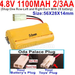 4.8V 1100MAH NI-CD Battery(2/3AA-Shorter)-With Oda Palace Plug(Round hole-Red Wire)-ShapOne Row-Left and Right Each With 2X battery)-Size-56X28X14mm