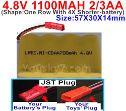 4.8V 1100MAH NI-CD Battery(2/3AA-Shorter)-With JST Plug-(Shape-One Row With 4X Shorter-battery)-Size-50X29X29mm