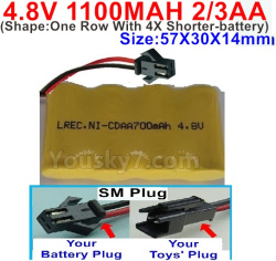 4.8V 1100MAH NI-CD Battery(2/3AA-Shorter)-With SM Plug-(Shape-One Row With 4X Shorter-battery)-Size-50X29X29mm