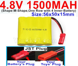 4.8V 1500MAH NI-CD Battery-With JST Plug-(Shape-M-Shape,One Row with 4 Inner-Battery)-Size-56x50x15mm