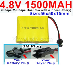 4.8V 1500MAH NI-CD Battery-With SM Plug-(Shape-M-Shape,One Row with 4 Inner-Battery)-Size-56x50x15mm