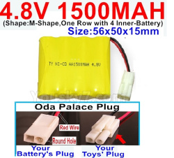 4.8V 1500MAH NI-CD Battery-With Oda Palace Plug(Round hole-Red Wire)-(Shape-M-Shape,One Row with 4 Inner-Battery)-Size-56x50x15mm