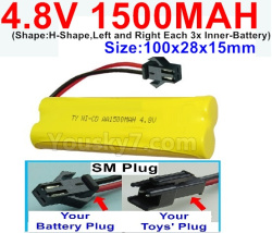 4.8V 1500MAH NI-CD Battery-With SM Plug-(Shape-H-Shape,Left and Right Each 3x Inner-Battery)-Size-100x28x15mm