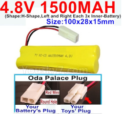 4.8V 1500MAH NI-CD Battery-With Oda Palace Plug(Round hole-Red Wire)-(Shape-H-Shape,Left and Right Each 3x Inner-Battery)-Size-100x28x15mm