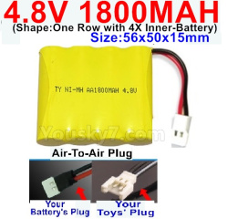 4.8V 1800MAH NI-MH Battery-With Air-To-Air Plug-(Shape-One Row with 4X Inner battery)-Size-56x50x15mm