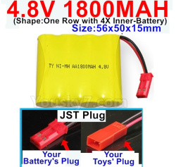 4.8V 1800MAH NI-MH Battery-With JST Plug(Round hole-Black Wire)-(Shape-One Row with 4X Inner battery)-Size-56x50x15mm