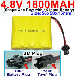 4.8V 1800MAH NI-MH Battery-With SM Plug(Shape-One Row with 4X Inner battery)-Size-56x50x15mm