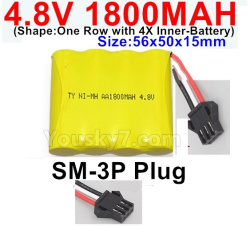 4.8V 1800MAH NI-MH Battery-With SM-3P Plug-(Shape-One Row with 4X Inner battery)-Size-56x50x15mm