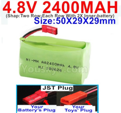 4.8V 2400MAH NI-MH Battery-With JST Plug-(Shap-Two Row-Each Row With 2X Inner-battery)-Size-50X29X29mm